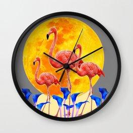 PINK FLAMINGOS FULL MOON BLUE LILIES Wall Clock