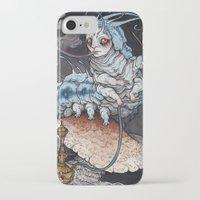 caitlin hackett iPhone & iPod Cases featuring Absolem the Blue Caterpillar art print by Caitlin Hackett
