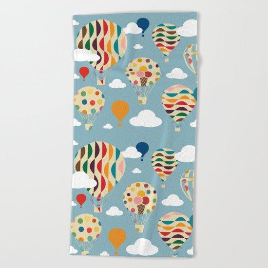 hot air ballon Beach Towel