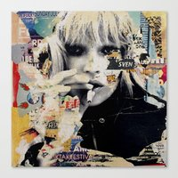 kate moss Canvas Prints featuring Kate Moss by Michiel Folkers