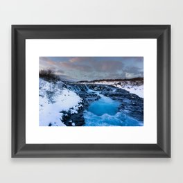 The blue waterfall of Iceland Framed Art Print