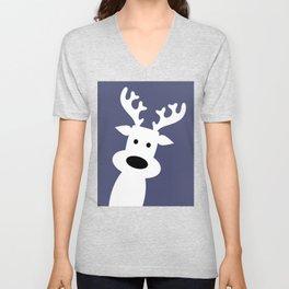 Reindeer on blue background Unisex V-Neck