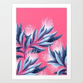 Pohutukawa - Pink / White Art Print