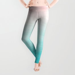 Grunge Pastel Millennial Pink Aqua Blue Teal Mint Linen Pattern Ombre Gradient Texture Leggings