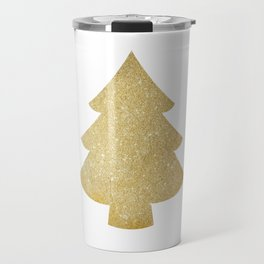 Gold Glitter Christmas Tree Travel Mug