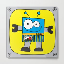 Rectangle Robot Metal Print