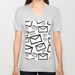 Black&white envelopes everywhere Unisex V-Neck