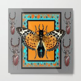 CONTEMPORARY  BUTTERFLY GREY STAG-HORNED BEETLES Metal Print