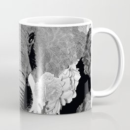 ELEPHANT AND CABBAGE ROSES IN BLACK AND WHITE Coffee Mug