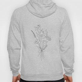 Small Wildflowers Minimalist Line Art Hoodie