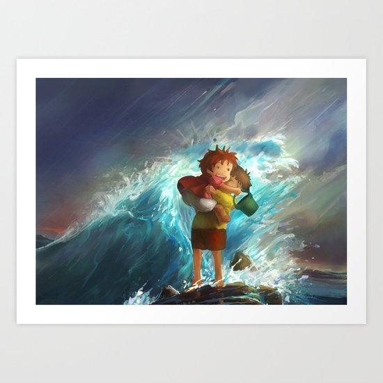 girl in the sea Art Print