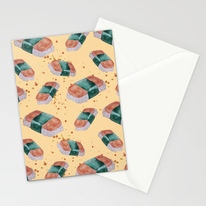 Spam Musubi Pattern Stationery Cards