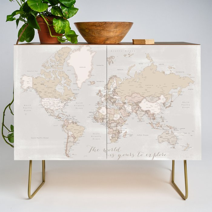 The_world_is_yours_to_explore_rustic_world_map_with_cities_Lucille_Credenza_by_blursbyaiShop__Gold__Walnut