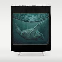 "biology Shower Curtains featuring ""Eclipse"" - Green Sea Turtle, Acrylic by Amber Marine"