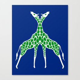Giraffe Lovers - Green Canvas Print