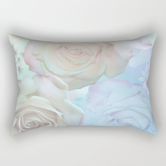 Romantic roses and tiny flowers in pastels Rectangular Pillow