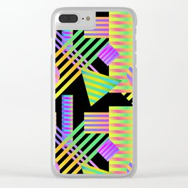 Neon Ombre 90's Striped Shapes Clear iPhone Case