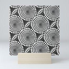 White Dots on Black Background Retro Mood -Black And White #decor #society6 #buyart Mini Art Print