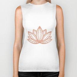 Lotus flower outline tattoo, Rose gold foil boho chic floral design Biker Tank
