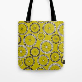bike wheels chartreuse Tote Bag