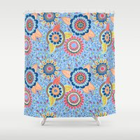 henna Shower Curtains featuring Henna Flowers by Marylina