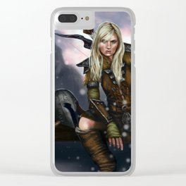 Fantasy Nordic Ranger Woman Clear iPhone Case