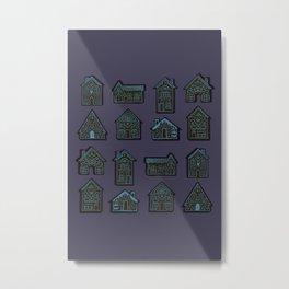 Tiny Houses - Blue Lavender Night Metal Print