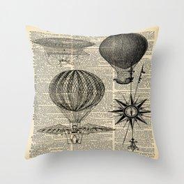 newspaper print victorian steampunk airship plane hot air balloon Throw Pillow