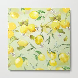 Watercolor lemons 7 Metal Print