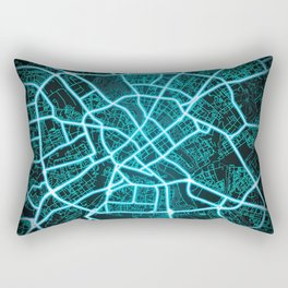 Minsk, Belarus, Blue, White, Neon, Glow, City, Map Rectangular Pillow