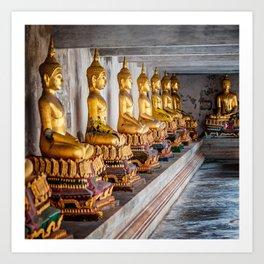 Golden Buddhas Art Print