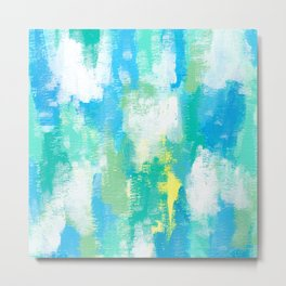 Calm Green abstract painting mint green pattern modern blue white sky nature contemporary Metal Print