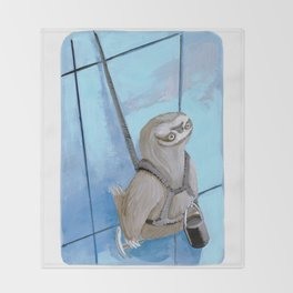 Sloths Are Bad At Things- Xander the Window Washer!  Throw Blanket