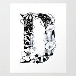 Floral Pen and Ink Letter D Art Print