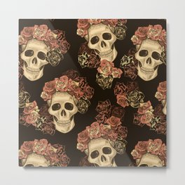 Skulls and Roses Spooky Halloween Metal Print