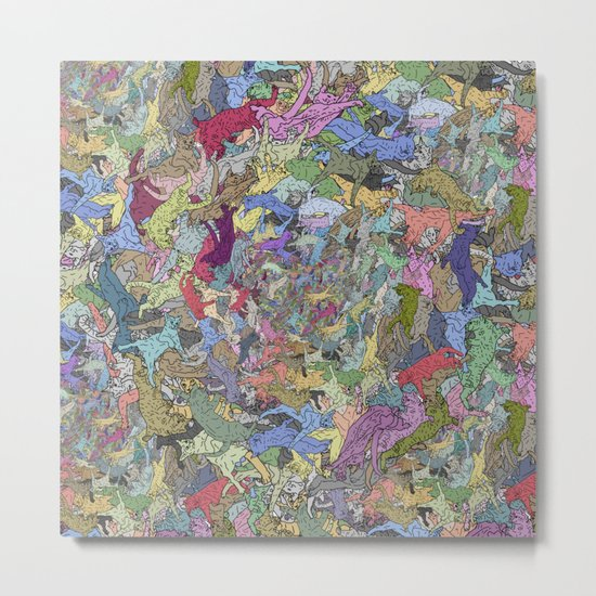 Colorful Flying Cats Metal Print