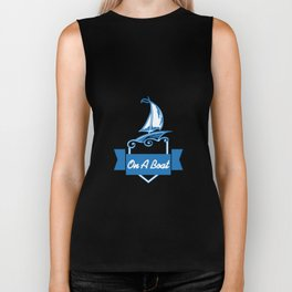 Let's Go Drink On A Boat Funny Boating Gift Biker Tank