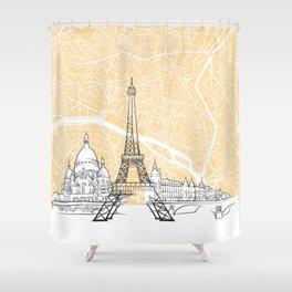 Paris France Skyline Map Shower Curtain