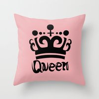 arya Throw Pillows featuring Queen Levy by Arya