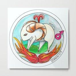 Whimsical Aries Ram Zodiac Art Metal Print