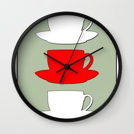Retro Coffee Print - White & Red Cups on Silver Bubbles Background Wall Clock