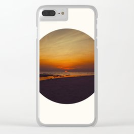 Mid Century Modern Round Circle Photo Graphic Design Orange Sunset Above Beach Clear iPhone Case