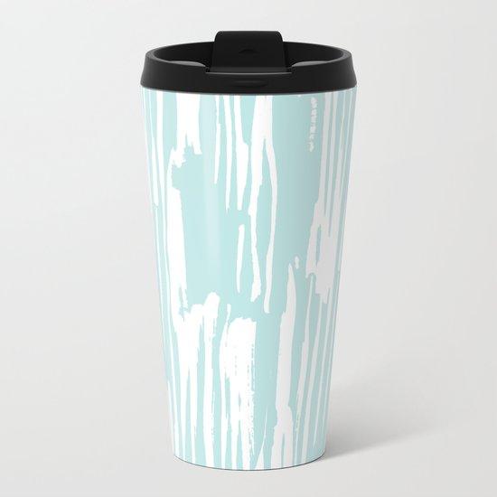 Bamboo Stripe Succulent Blue and White Metal Travel Mug