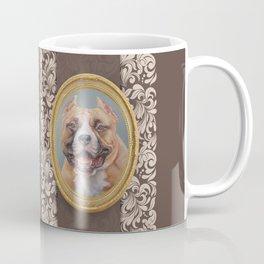 Old Gentleman. Amstaff Dog portrait in gold frame Coffee Mug