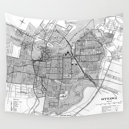 Vintage Map of Ottawa Canada (1915) BW Wall Tapestry