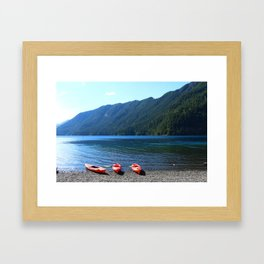 Lake Crescent With Beached Canoes Framed Art Print