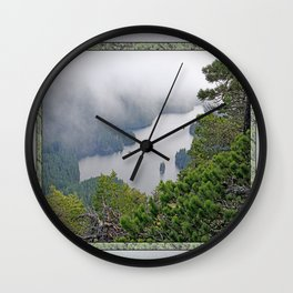 MOUNTAIN LAKE ON A MISTY DAY Wall Clock
