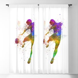 man soccer football player flying kicking silhouette Blackout Curtain