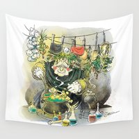 witch Wall Tapestries featuring Witch by Karolina Ostrowska