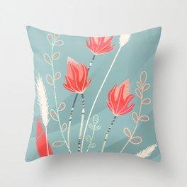 Summer Field Blossoms Throw Pillow
